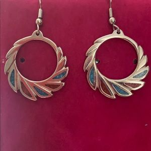 Coral & Turquoise InlaySilver Dangle Hoop Earring